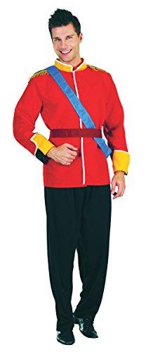 Emmas Kleiderschrank Royal Prince Kostümjacke für Erwachsene - Outfit UK Größe M-XL (Men: One Size, Red) (Prince Charming Und Cinderella Kostüme)
