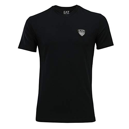 Emporio Armani EA7 Herren T-Shirt 3YPTL8, V-Ausschnitt, Grau (Small 45510ab6cf7