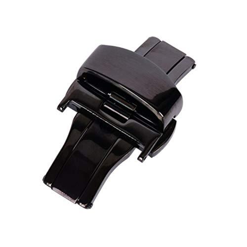 NICERIO Edelstahl Uhr Verschlussring Double Push Button Butterfly Faltschließe für Armband 20mm (Schwarz) -