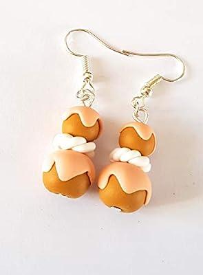 boucles d'oreilles religieuses au chocolat, boucles gourmandes, fimo,peche