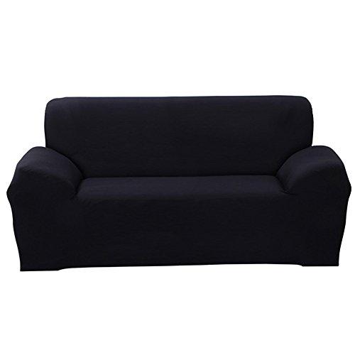 Schwarz 3-sitzer (ele ELEOPTION Sofa Überwürfe Sofabezug Stretch elastische Sofahusse Sofa Abdeckung in Verschiedene Größe und Farbe Herstellergröße 195-230cm (Schwarz, 3 Sitzer für Sofalänge 170-220cm))