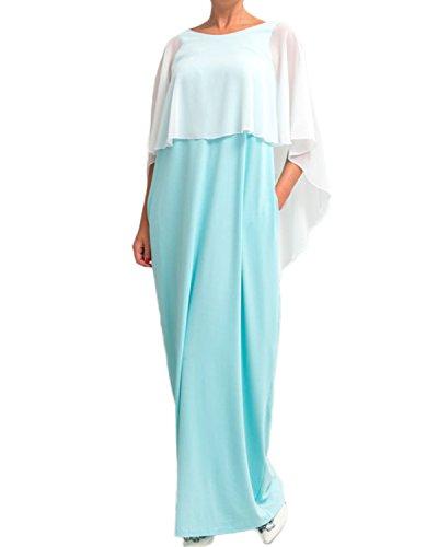 Auxo Femme Châle Style Sexy Dos Nu Maxi Dress Eté Cocktail Casual Lâche Longue Robe de Mousseline Bleu clair