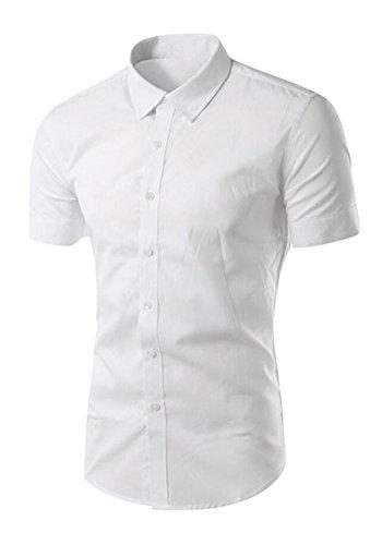 Französisch Manschette-punkt-kragen-hemd (dooxiundi mens faltenfreie kurzärmelige hemd (S, weiße))