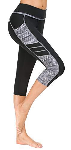 Flatik Damen Netzoberfläche Sport Gym Yoga Laufen Fitness Leggings Hose, Schwarz Grau(3/4 Capri), XXL -