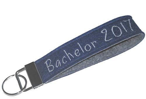 Schlüsselanhänger Schlüsselband individuell Text Name Filz personalisiertes Geschenk - Haus Bachelor