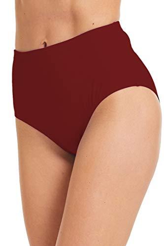 Micosuza Bikinislip Damen Retro Bikinihose Basic Bikini Unterteil Hoher Taille Badehose High Waist Badeshorts (Burgunderfarben, EU 44 = US 16) - 2