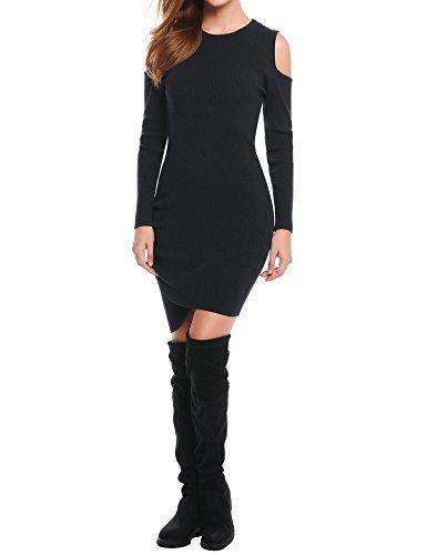 Damen Elegant Strickkleid Partykleid Minikleid Pullover Kleid Strick Figurbetontes Kleid Rundhals Langarm Schulterfrei Asymmetrisch Herbst Winter