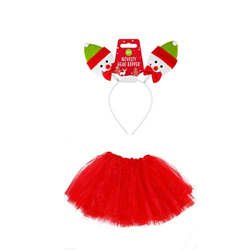Tutu Kostüm Schneemann - Unbekannt Kostüm Set Tütü mit SCHNEEMANN Haarreif - Snowman Costume Set - vertrieb durch ABAV (Damen 2 Teiliges Set Rot Tütü mit Schneemann Haarreif)