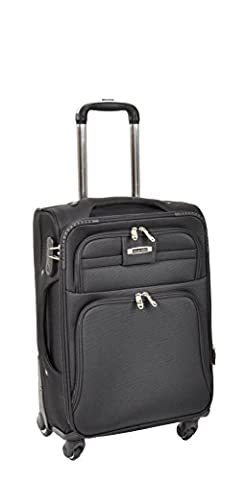 "Durable Strong Soft Suitcase Lightweight Expandable Travel Luggage Trolley Bags 4 Wheel Spinner with Lock – Pluto Black (CABIN 20""- 38x56x24cm/"