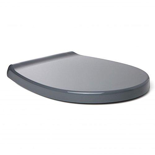 Sanixa TA4403816 Toilettendeckel Grau Toiletten-Sitz | Absenkautomatik | abnehmbare Scharniere | WC Sitz | Klositz | Klodeckel antibakteriell