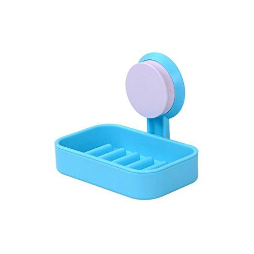Xuan - Worth Having Type de Tasse créative d'aspiration de Salle de Bains de Support de Savon de Savon de matière Plastique Simple Couche Bleue