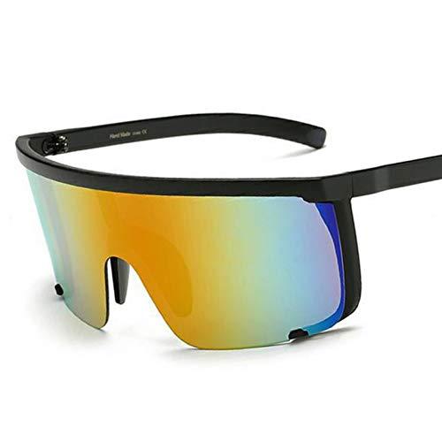TIANKON Oversize Half Frame Damen Sonnenbrille Herren Blue Mirror Goggle Shades Uv400 Lady Sonnenbrille,Roter Spiegeld