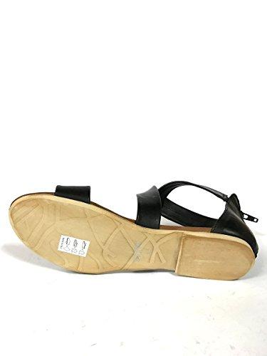 Sandali tacco basso SH22 in pelle con zip fasce made italy MainApps Nero