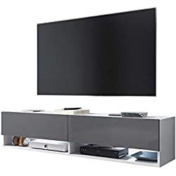 Selsey Wander - Meuble TV Suspendu/Banc TV avec LED (140 cm) (Blanc Mat/Gris Brillant)
