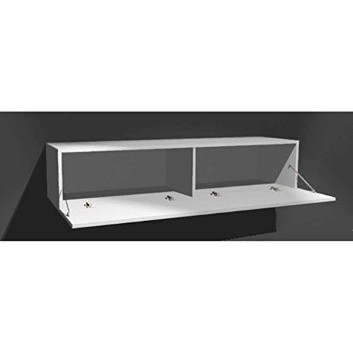 JUSThome Vigo IX Wohnwand Anbauwand Schrankwand Weiß Matt | Grau Hochglanz - 2