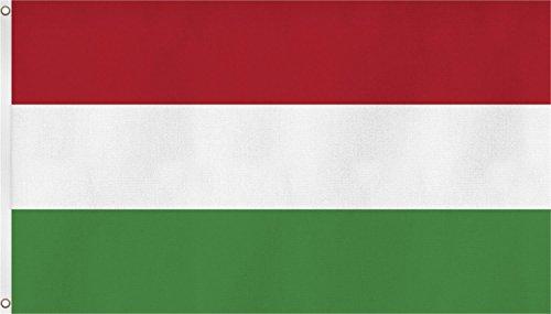 normani Flagge - Fahne - Hissfahne mit Zwei Metallösen zur Befestigung und zum Hissen - Größe 90 x 150 cm wetterfest Farbe Ungarn
