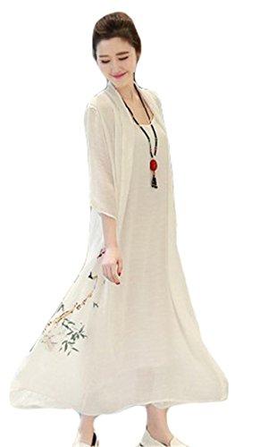 Femmes Mode chinoise à manches longues Impression Fake 2pcs en coton lin robe longue Blanc