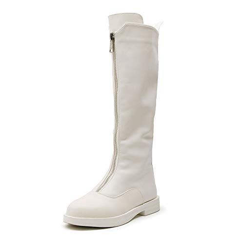 n Leder Runde Hohlzylinder Stiefel Die Knie Flache Winter Rutschfeste Schuhe Martin Stiefel Reißverschluss Mode Sexy Stiefel,White-39 ()