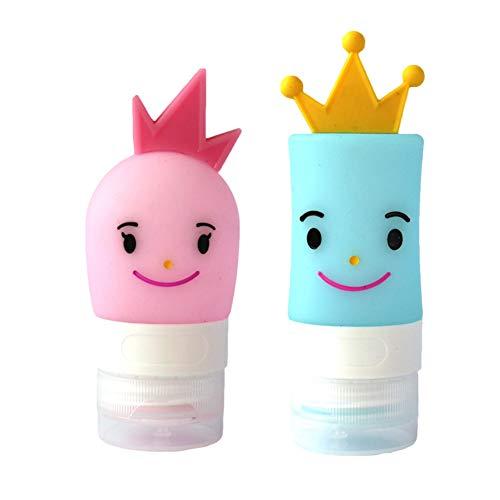 Onebycitess 2 STÜCKE Cartoon Silikon Toilettenartikel Unterflasche Tragbare Reiseflaschen Set Auslaufsicher und Quetschbar Reisebehälter für Shampoo Conditioner -