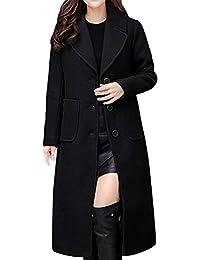 LianMengMVP Femmes Dames Hiver Revers Svelte Long Manteau Veste Parka  Outwear Manteau de Laine bb533ed3b01b