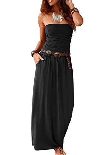 Ancapelion Damen Blumenmuster Maxikleid Langes Kleider Bandeau Kleid Böhmen Sommerkleid Trägerloses Strandkleid Elegante Abendkleid (Kleid Stoff Blumenmuster)