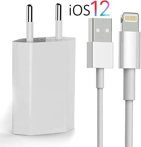 OKCS Original Ladeset kompatibel mit iPhone [USB Ladekabel mit Netzteil 1000 mAh] 1 Meter kompatibel mit iPhone in Weiß