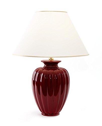 Tischleuchte Lampe Palazzo Bordeaux aus Keramik rot | Tischlampe E27 | Handgefertigt in Italien | Exklusive Leuchte mit 24 Karat Gold Veredelung