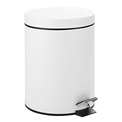 Preisvergleich Produktbild mDesign Tretmülleimer 5L - Mülleimer mit Fußpedal aus Metall - Mülleimer mit Deckel und herausnehmbarem Inneneimer aus robustem Kunststoff - in modernem Weiß