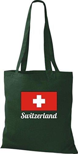 ShirtInStyle Stoffbeutel Baumwolltasche Länderjute Switzerland Schweiz Farbe Pink gruen