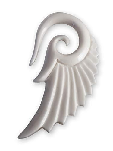 Fly Style Ohr Expander Ohrhänger Engels-Flügel 4-12 mm Holz Knochen Horn, Grösse:8 mm, Farbwahl:Weiss (Knochen 12)