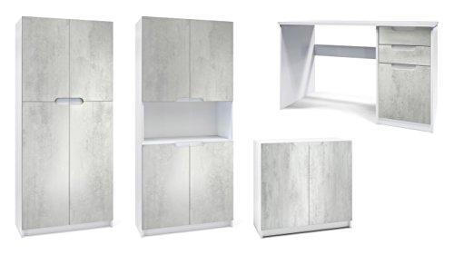 Vladon Büromöbel Arbeitszimmer komplett Set Logan, Korpus in Weiß matt/Fronten in Beton Oxid Optik