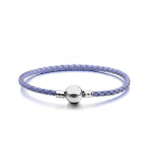 Violet-extrakt (Damen-Armband aus PU-Leder 12 Farben silberfarben, metall, violett, 19 cm)