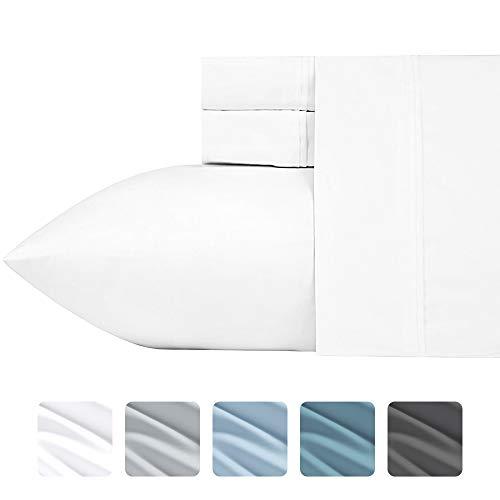 California Design Den Luxuriös seidig weich 700Fadenzahl-Bettlaken-Set, patentierte Baumwolle Rich Satin Technologie, knitterfrei (Pure weiß-Full), Baumwolle, reinweß, Queen (Full-satin Bett-sets)