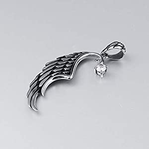 Beydodo Edelstahl Herren Halskette Flügel Weiß/Rot/Schwarz Zirkonia Anhänger Kette Silber Freundschaftskette Hip Hop Kette