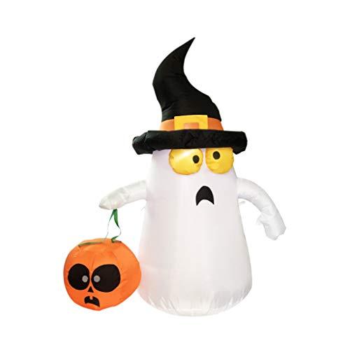 (D DOLITY Halloween Aufblasbarer Geist und Kürbis Dekoration Gartendeko mit Beleuchtung und Eu-Stecker)