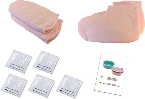 Zubehör fürs Paraffinbad: 2x Handschuhe, 2x Füsslinge, 20x Einweg Folien, Paraffin-Bad, Behandlung - Therapie, Pflege, Fuß-Schuhe, Socken, Plastik-Folien, Set, Kit