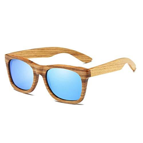 WULE-Sunglasses Unisex UV 400 Schutz Harz Objektiv HD visuelle Starke Auswirkungen Block Glare Barrier polarisiertes Licht blau Unisex handgefertigte Zebrano Holzrahmen Sonnenbrillen (Farbe : Blue)