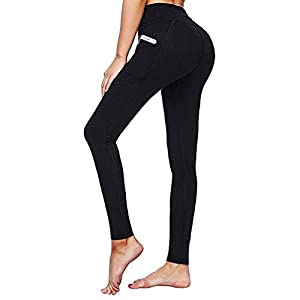 Battnot Damen Sport Leggings mit Taschen High Waist Fitness Bauchkontrolle Workout Yogahosen Elastische Schmale…