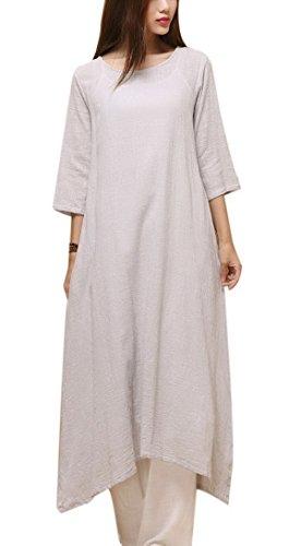 Aivtalk - Damen Sommerkleid Leinenkleid Rundhalsausschnitt Lange Kleider Halblangarm Kleid Grau