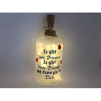 Flaschenlicht individuell LED Lichterkette Es gibt Friseure Haare schneiden Dich Geschenk LED Leuchte Leuchtflasche Made in Germany
