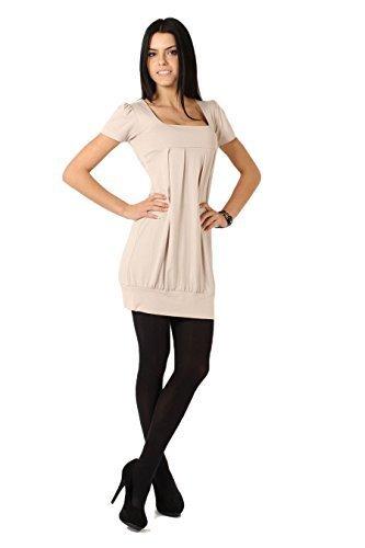Futuro Fashion Elegant Mini Robe Femmes Col Carré Haut Manches Courtes Tunique 8943 Beige