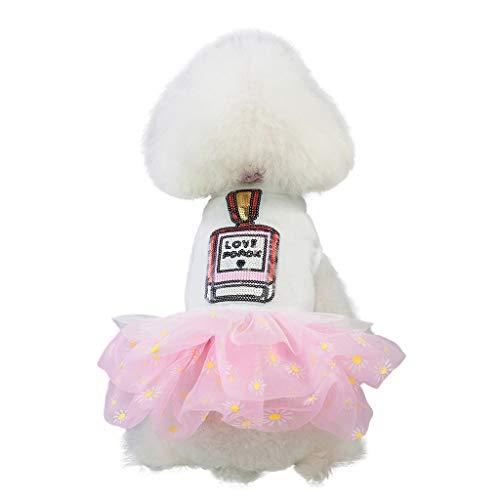 YWLINK Pet FrüHling Und Sommer ParfüM Blume Drucken Tutu Mesh Kleid Hunde Kleidung Party Prinzessin Rock Haustier-Hundekleidung(XS,Rosa)