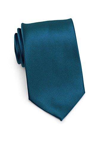 PUCCINI Krawatte Herren, Einfarbig, 39 verschiedene Farben, Satin-Glanz, Mikrofaser, 8,5 cm, Handarbeit, Hochzeit – Alltag – Büro (Blaugrün)