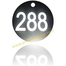 Juego de 100 fichas para guardarropas, en 35 mm. de diámetro, en Negro y texto Blanco, numeradas del 001 al 100.