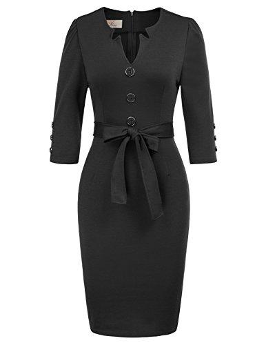 Grace karin abiti con bottone vestiti manica 3/4 per donna abito da partito bodycon 2xl nero
