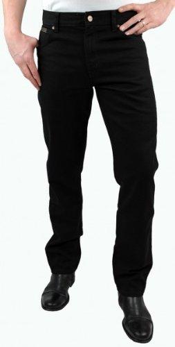 Herren Schwarz Wrangler (Wrangler Jeans Texas Stretch - schwarz, Größe:W36 L34)