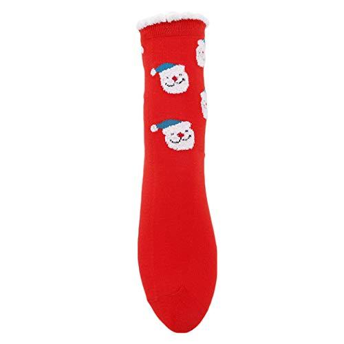 Eleusine 5 Paires De Coton Chaussettes De Noël Décontractées Funny Santa à Motifs De Coton Heureux Respirant Santa Claus Chaussettes Drôles (Rouge)