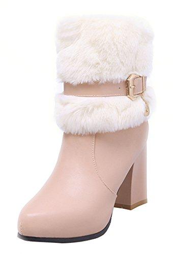 YE Damen Blockabsatz Spitze High Heels Plateau Stiefeletten mit Fell warm Gefüttert Schnallen Reißverschluss 8cm Absatz Winterstiefel Rosa