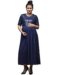 Gravidanza9 Women Lycra Blue Sequence Party Maternity Dress Pregnancy Nursing Maxi Dress