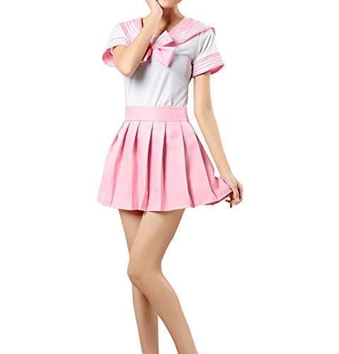Suit Sets Tops mit Rock Japanische Cosplay Kostüm Maskerade Party Pink Asie XL: Brust:88-90CM ()